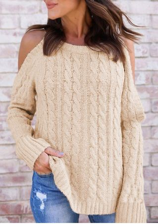 Solid Cold Shoulder Knitted Sweater