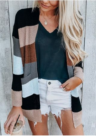 Color Block Pocket Cardigan without Necklace