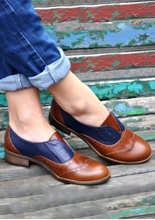 Color Block Round Toe Fashion Flats