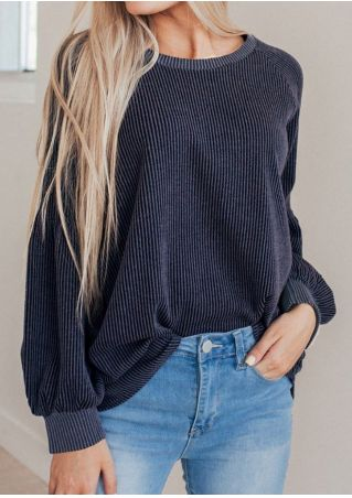 Solid O-Neck Long Sleeeve Sweatshirt