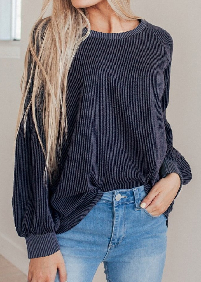 Solid O-Neck Long Sleeeve Sweatshirt