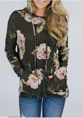 Floral Drawstring Pocket Long Sleeve Hoodie