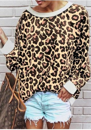 Leopard Printed Long Sleeve Sweatshirt