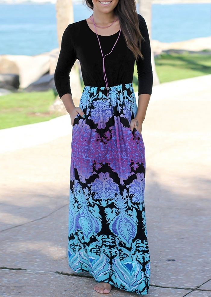 Printed Splicing O-Neck Maxi Dress without Necklace