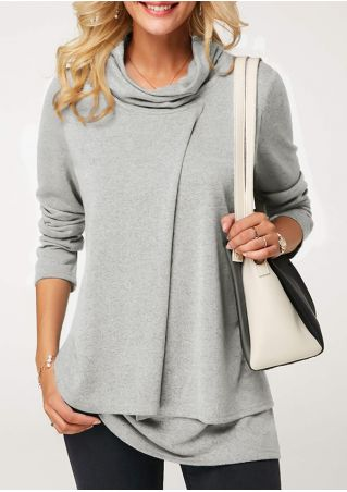Solid Layered Long Sleeve Blouse