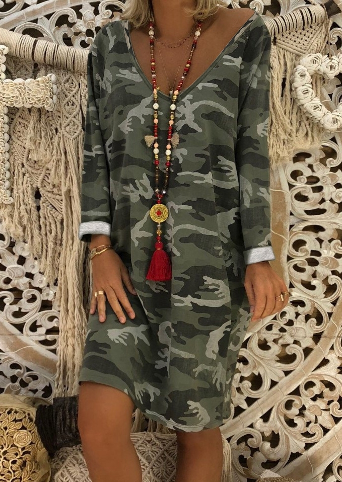 Camouflage Printed Mini Dress without Necklace