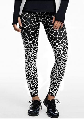 Printed Elastic Waist Skinny Sport Pants