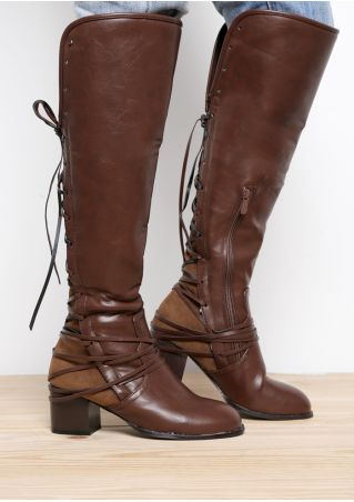 Solid Lace Up Zipper Heeled Long Boots