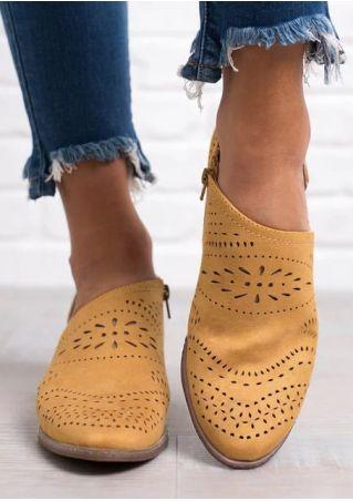 Solid Hollow Out Zipper Heels