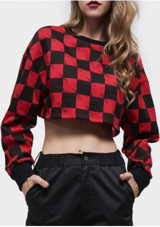 Letter Checkered Drop-Shoulder Sweatshirt
