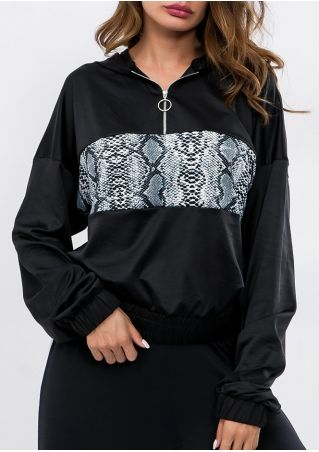 Snakeskin Printed Splicing Zipper Hoodie