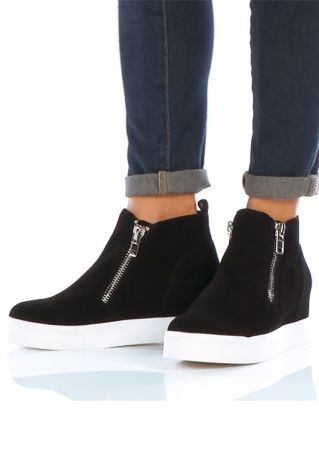 Solid Zipper Chunky Sole Boots