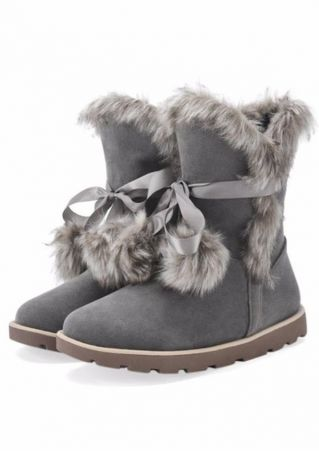 Solid Fluffy Tie Fashion Boots