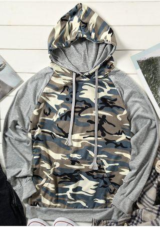 Camouflage Printed Drawstring Hoodie