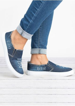 Denim Ripped Round Toe Flats