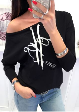 Printed Drawstring One Shoulder Sweatshirt