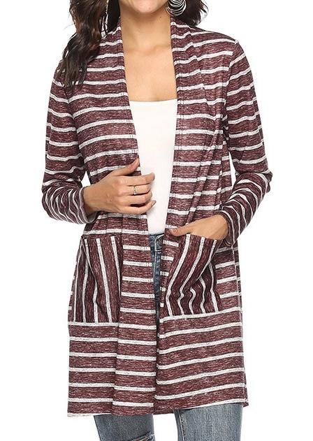 Striped Pocket Long Sleeve Cardigan