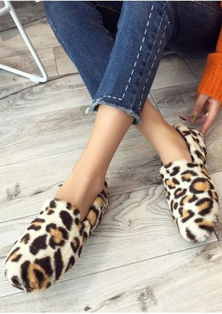 Leopard Fluffy Fashion Flats