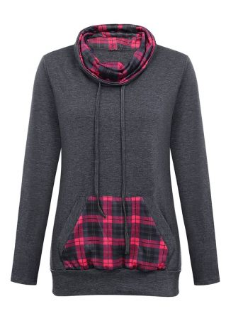 Plaid Splicing Drawstring Pocket Sweatshirt
