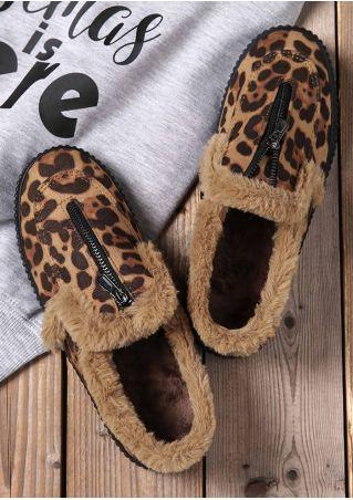 Leopard Print Zipper Flats