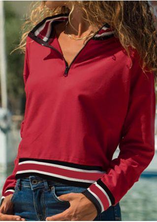 Striped Zipper Long Sleeve Sweatshirt