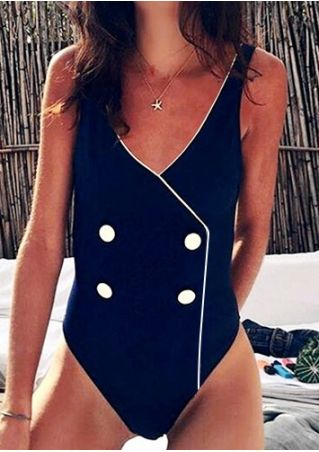 Splicing Button One-Piece Swimsuit without Necklace