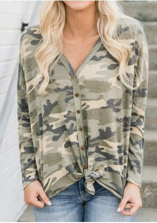Camouflage Printed Button Blouse