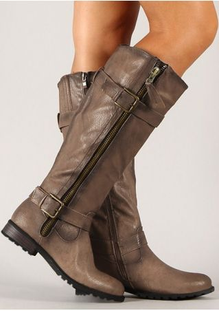 Solid Buckle Strap Zipper Boots