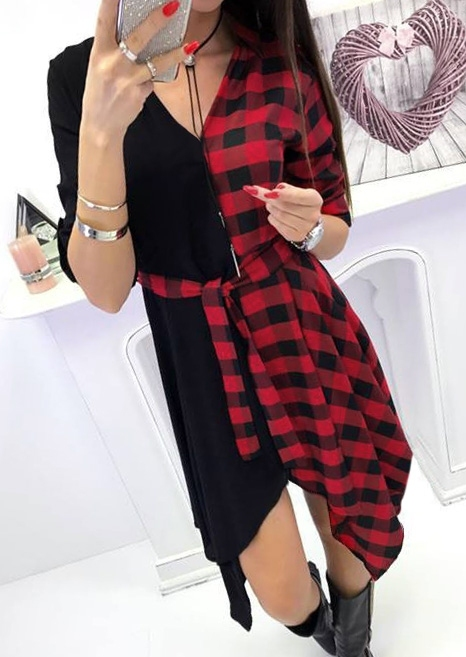 Plaid Splicing Deep V-Neck Casual Dress without Necklace