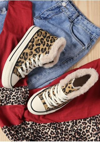 Leopard Printed Fluffy Canvas Sneakers