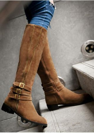 Solid Buckle Strap Zipper Fashion Boots