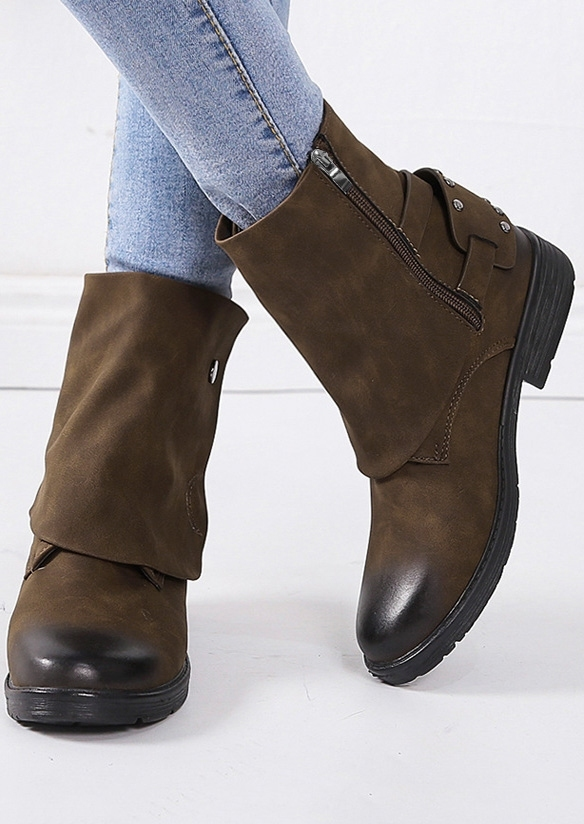 Solid Zipper Fashion Boots