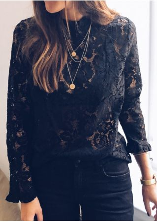 Solid Lace Floral Hollow Out Blouse without Necklace