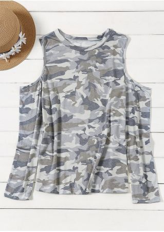 Camouflage Printed Cold Shoulder Blouse