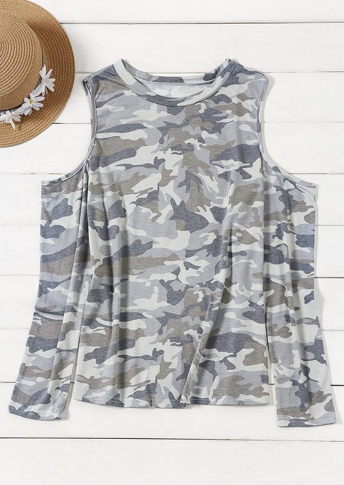 Camouflage Printed Cold Shoulder Blouse