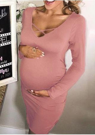 Solid Criss-Cross Maternity Bodycon Dress