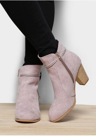 Solid Zipper Tassel Heeled Boots