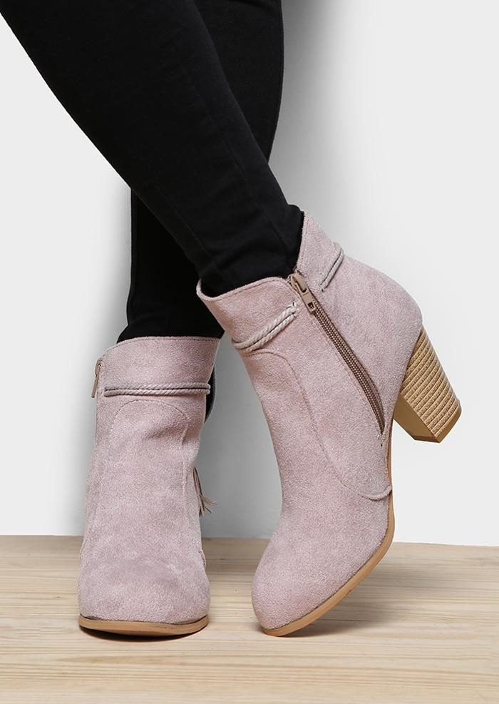 Solid Zipper Tassel Heeled Boots