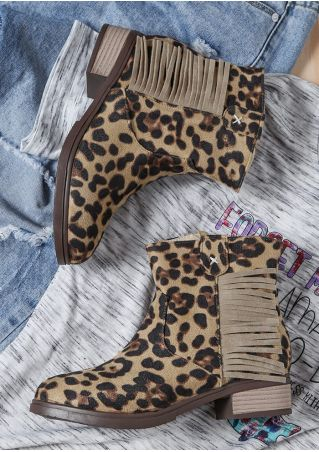 Leopard Printed Fringe Round Toe Boots