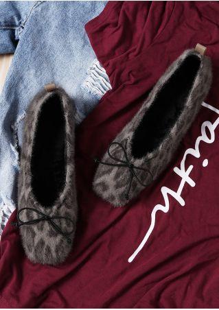 Leopard Printed Faux Fur Bowknot Flats