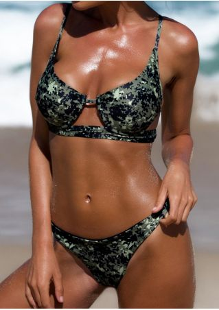 Camouflage Printed Low Waist Bikini Set