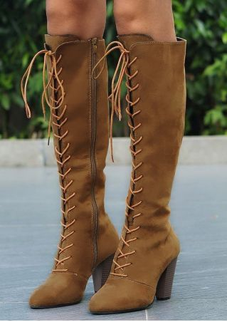Solid Lace Up Zipper Heeled Boots