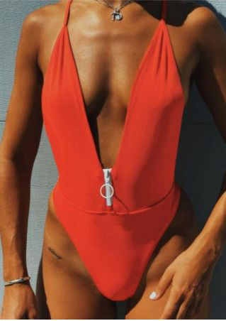 Solid Zipper Backless Swimsuit without Necklace