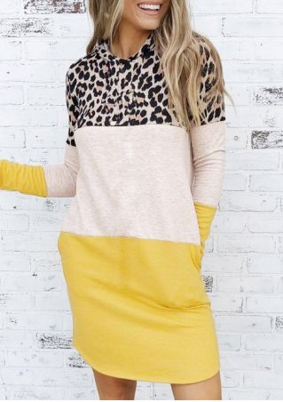 Leopard Printed Color Block Splicing Hooded Mini Dress