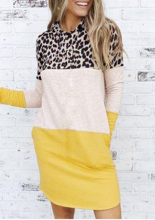 Leopard Printed Color Block Splicing Hooded Mini Dress