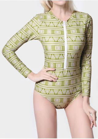 Geometric Zipper Long Sleeve Swimsuit