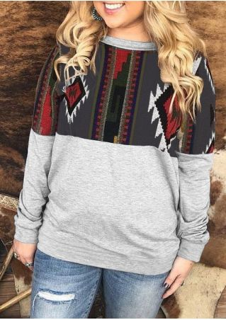 Geometric Splicing Long Sleeve Sweatshirt
