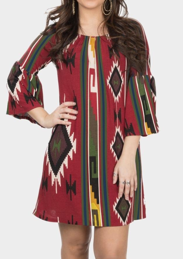 Aztec Geometric Printed Casual Dress