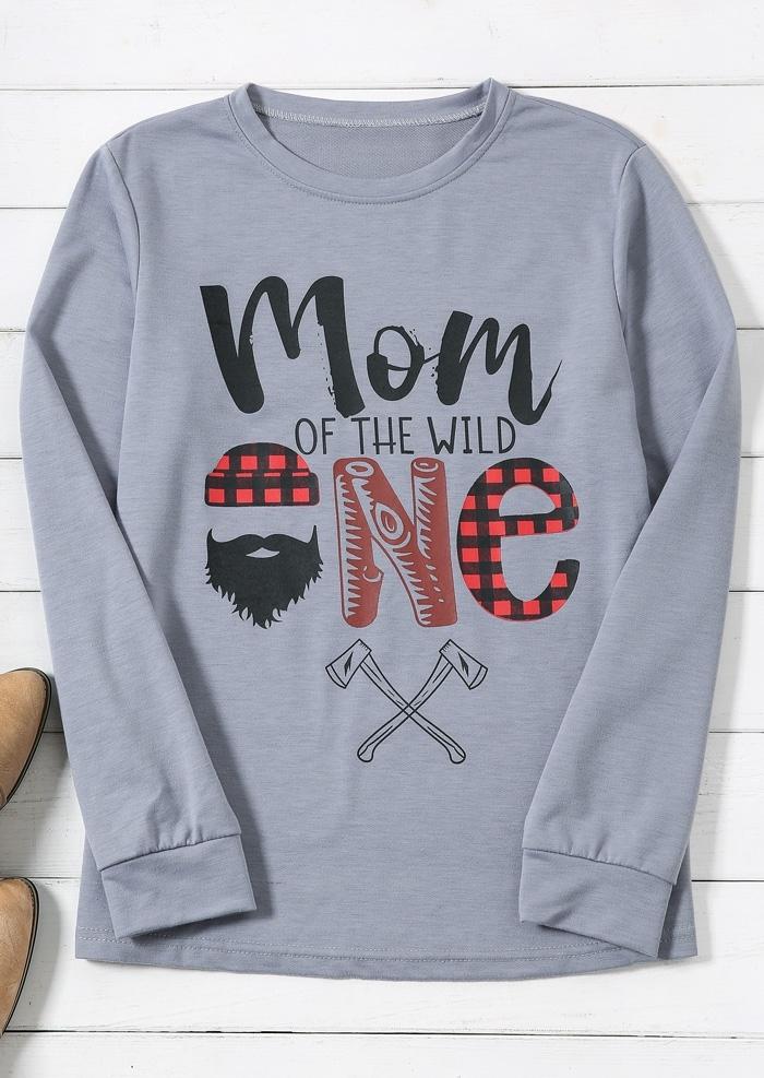 Mom Of The Wild One Plaid Sweatshirt
