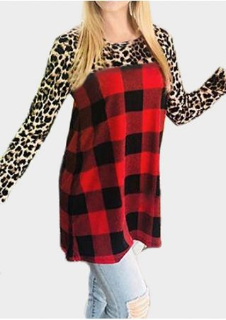 Leopard Printed Plaid Splicing Blouse